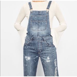 ZARA Denim Ripped Distressed Ankle Overalls